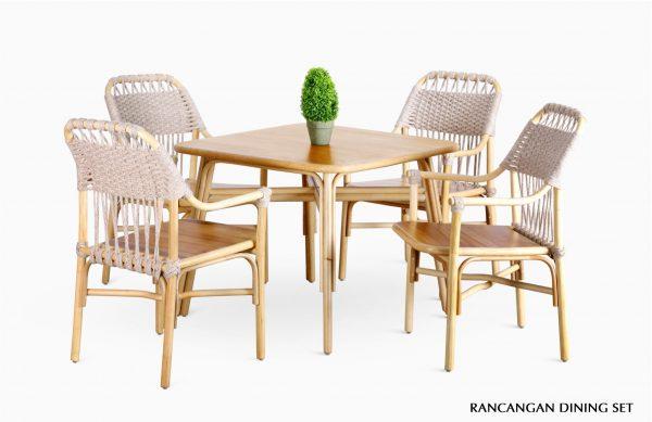 Rancangan Rattan Dining Set