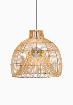 Bohemian Rattan Hanging Lamp On - Natural