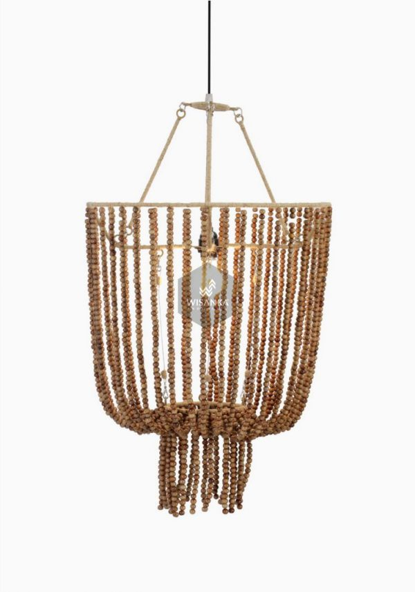 Kayana Wood Beads Pendant Hanging Lamp On