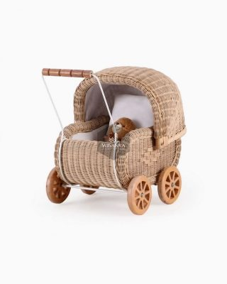Rattan Doll Pram Jess.  Your kids will absolutely love pushing around their favo...