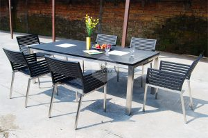 Stainless Steel Terrano Black Dining Set