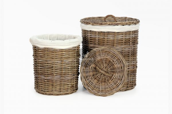 Cilinder Round Rattan Laundry Basket