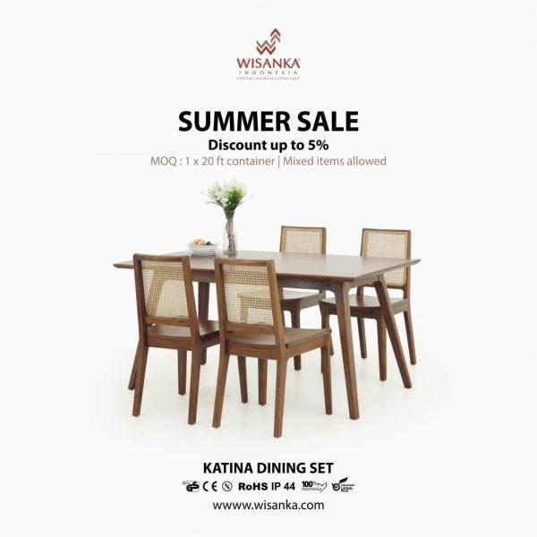 Katina Dining Set | indoor dining set furniture | teak rattan furniture